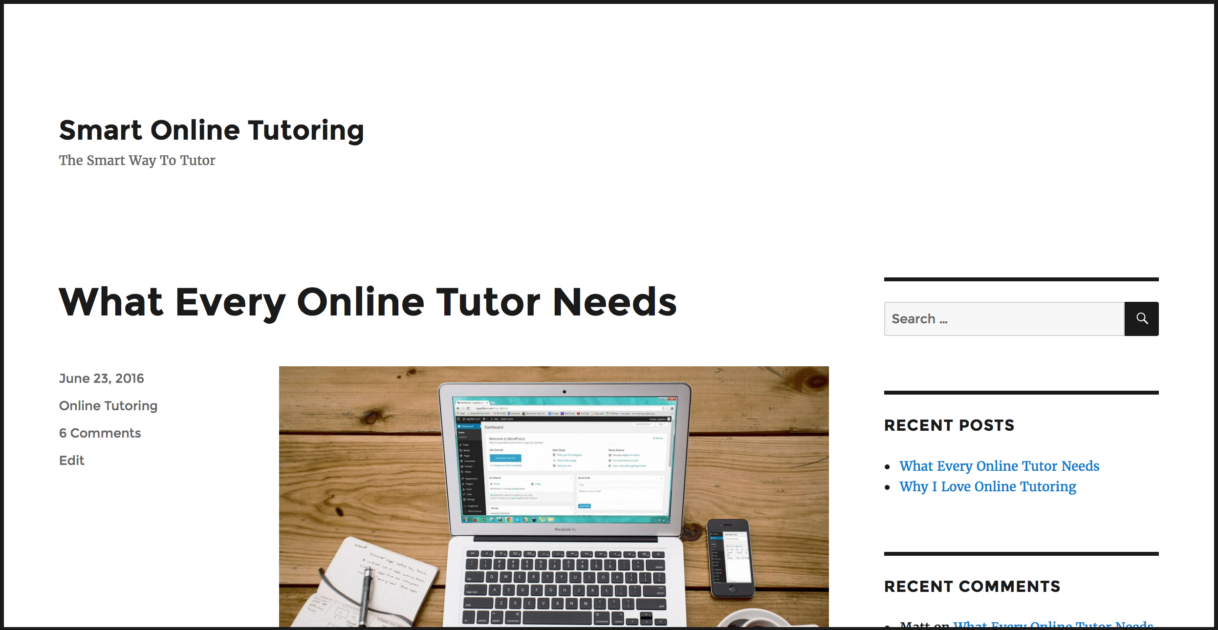 Smart Online Tutoring Website before picture