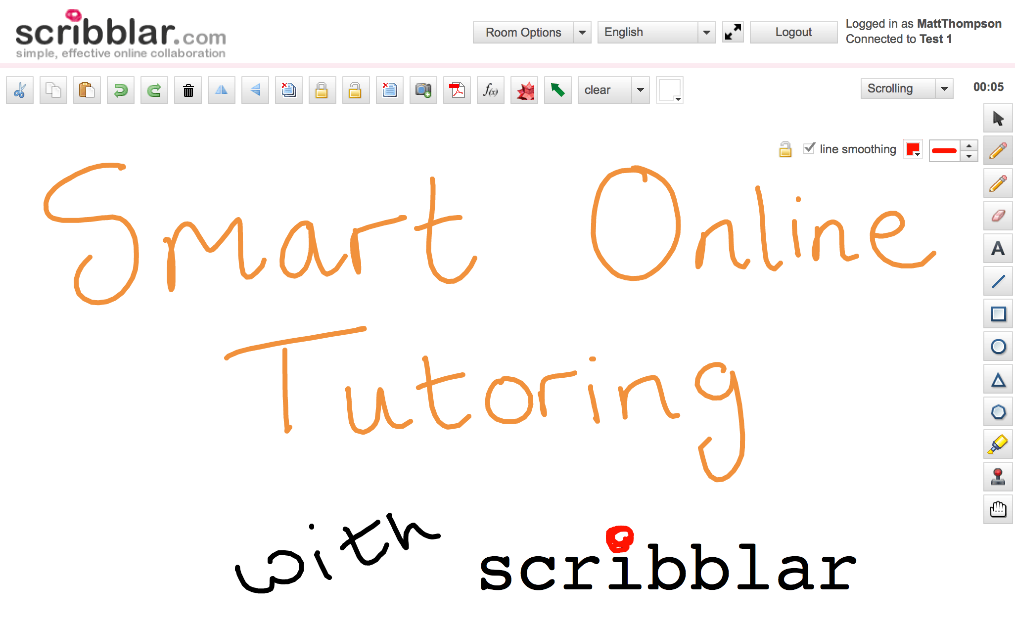 smart online tutoring with scribblar