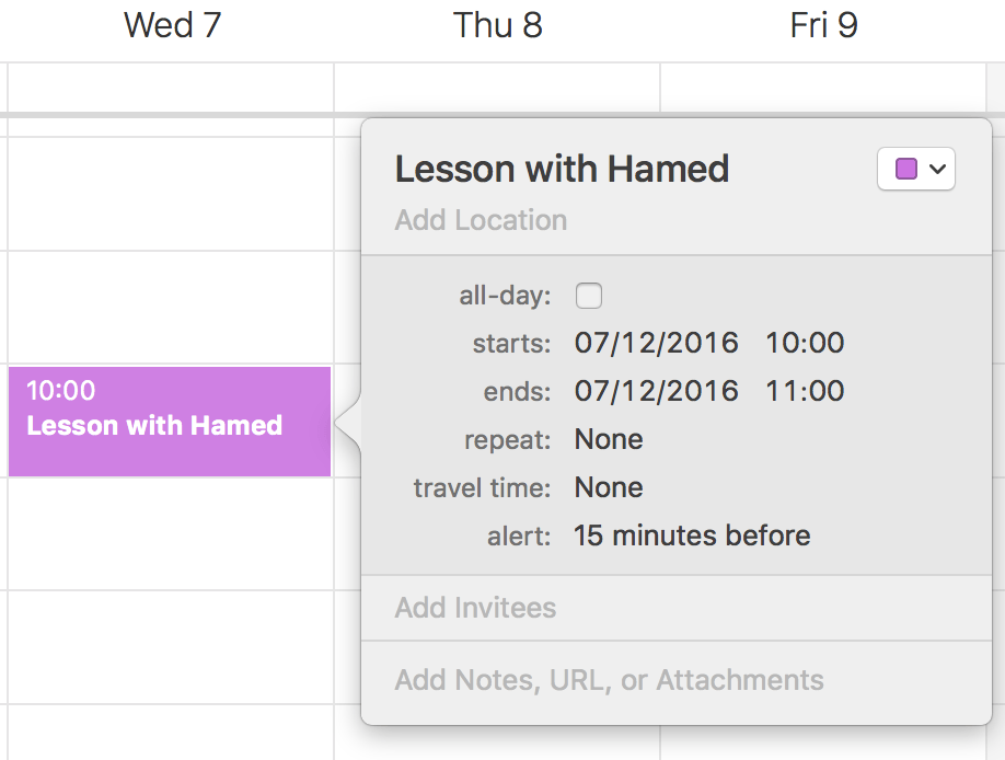 Calendar reminders for online tutoring