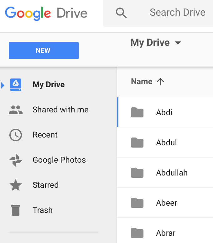 Goggle Drive folders for online tutoring