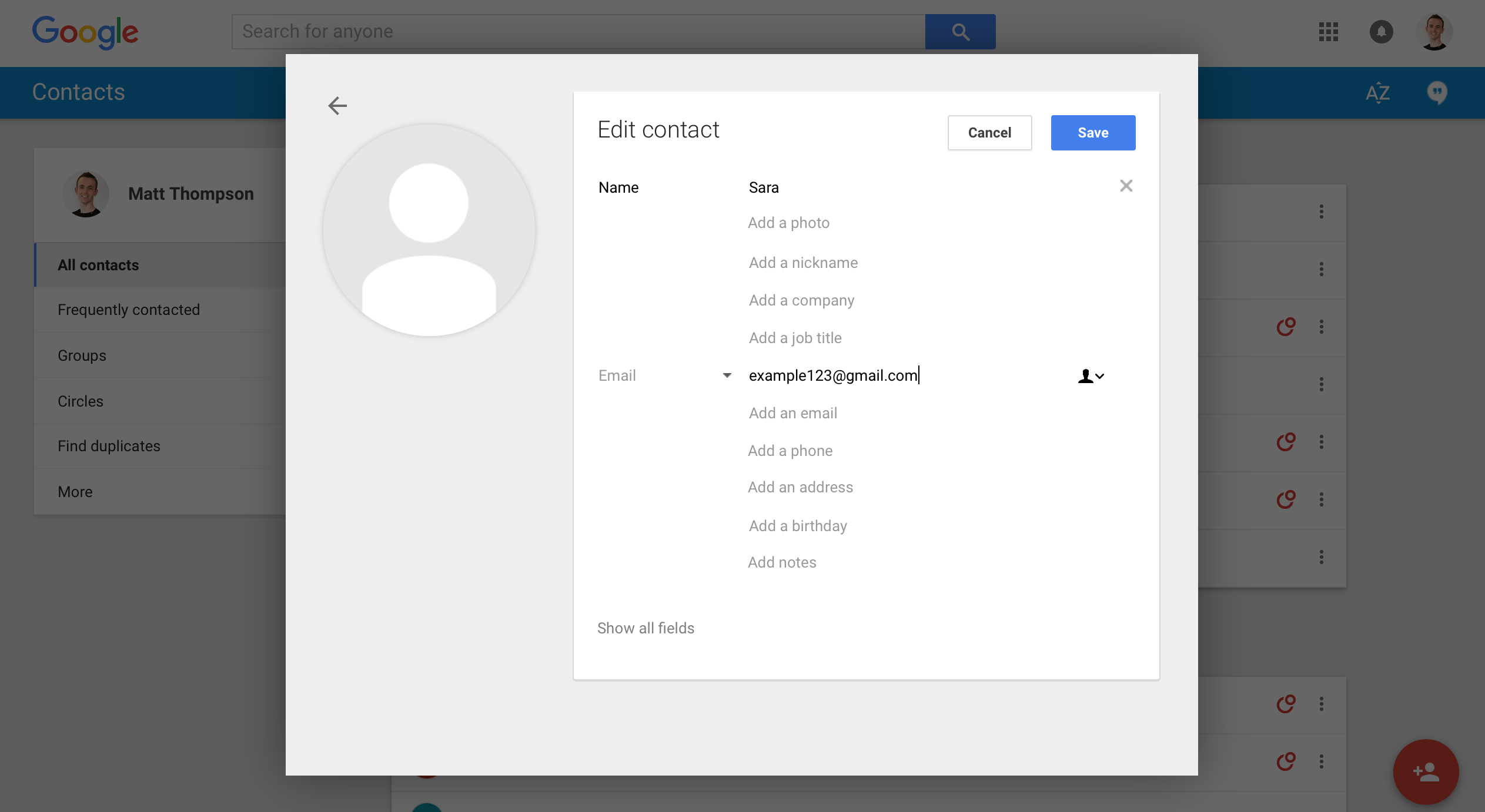 Google contacts for online students