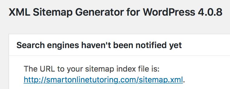 XML sitemap URL