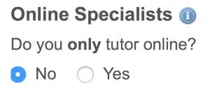 Online specialist option
