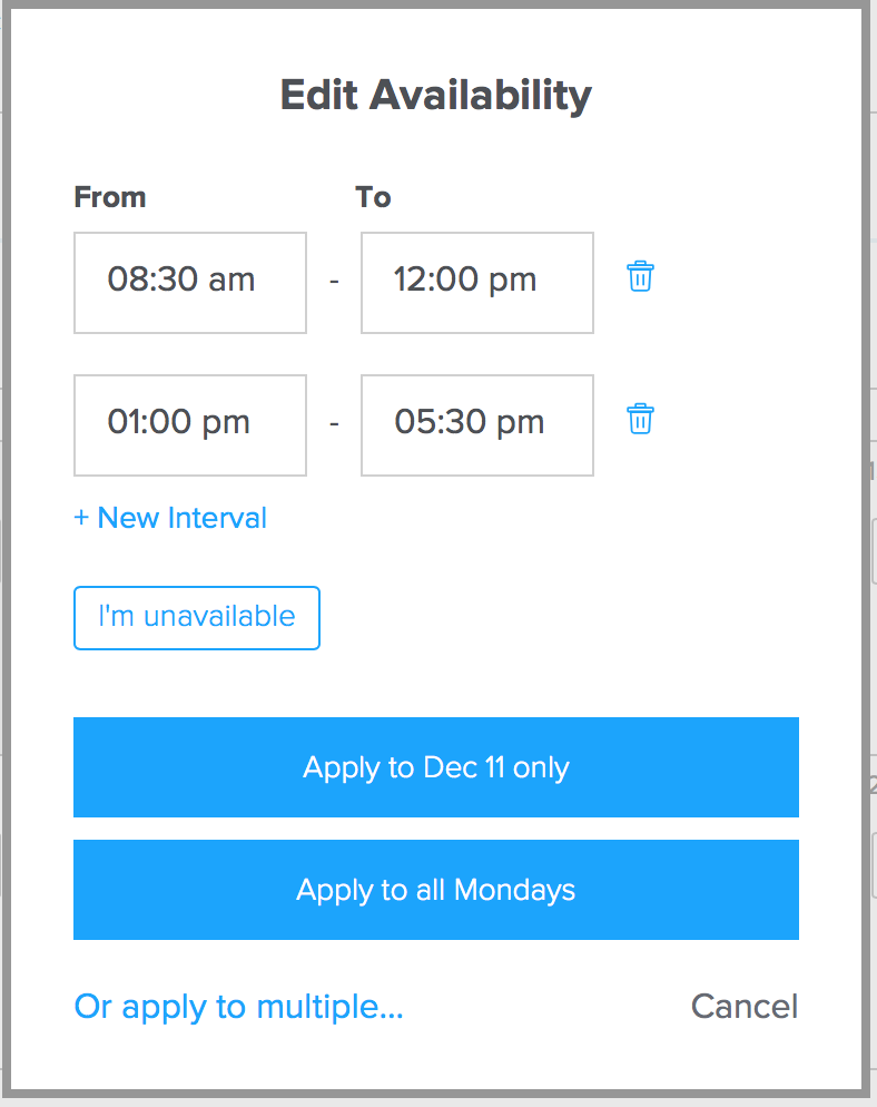 Edit availability times for your online tutoring