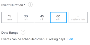 Set duration for your online lesson