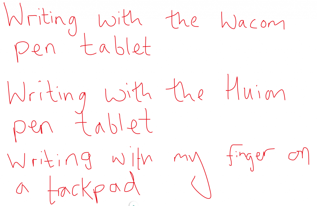Pen tablet writing comparison
